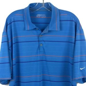 Nike Fit Dry Blue Striped Polo Golf Shirt Large